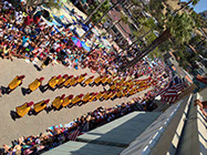 The Trojan Band and Song Girls march down Front Street during Avalon's Annual Fourth of July Parade.